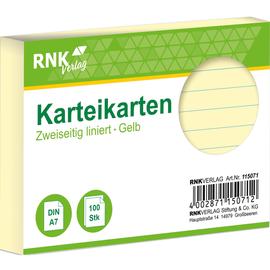 Karteikarten A7 liniert gelb holzfrei RNK 11507 (PACK=100 STÜCK) Produktbild