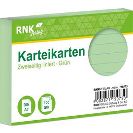 Karteikarten A7 liniert grün holzfrei RNK 11507 (PACK=100 STÜCK) Produktbild
