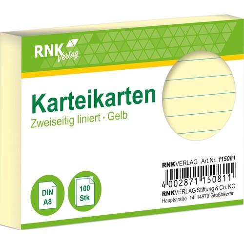 Karteikarten A8 liniert gelb holzfrei RNK 11508 (PACK=100 STÜCK) Produktbild Front View L