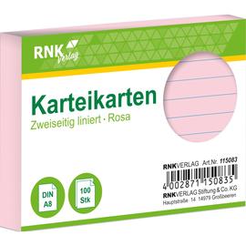 Karteikarten A8 liniert rosa holzfrei RNK 11508 (PACK=100 STÜCK) Produktbild
