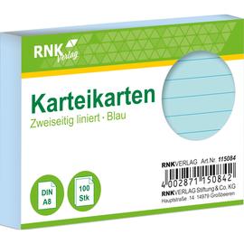 Karteikarten A8 liniert blau holzfrei RNK 11508 (PACK=100 STÜCK) Produktbild