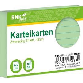 Karteikarten A8 liniert grün holzfrei RNK 11508 (PACK=100 STÜCK) Produktbild