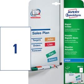 Magnet-Schild Inkjet 210x297mm auf A4 Bögen wiederablösbar weiß Zweckform J8867-5 (PACK=5 STÜCK) Produktbild