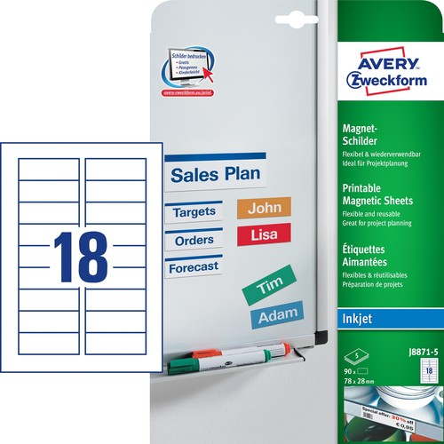 Magnet-Schild Inkjet 78x28mm auf A4 Bögen weiß wiederablösbar Zweckform J8871-5 (PACK=90 STÜCK) Produktbild