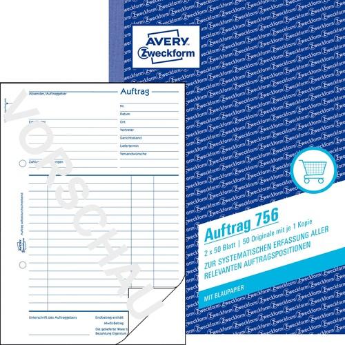 Avery Zweckform Auftragsformular 756 DIN A5 2x50Blatt