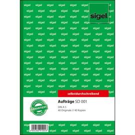 Auftragsbuch A5 2x40Blatt selbstdurchschreibend Sigel SD001 Produktbild