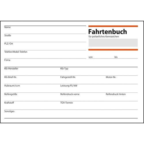 Fahrtenbuch für Pkw A6 quer 40Blatt geheftet Sigel FA614 Produktbild Additional View 1 L