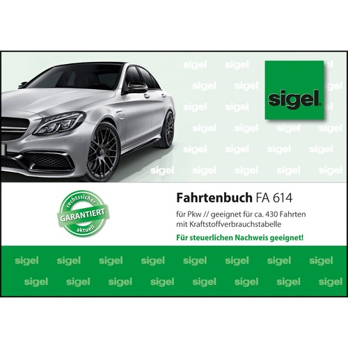 Fahrtenbuch für Pkw A6 quer 40Blatt geheftet Sigel FA614 Produktbild