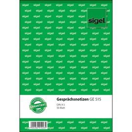 Gesprächsnotizblock A5 hoch 50Blatt weiß Sigel GE515 Produktbild