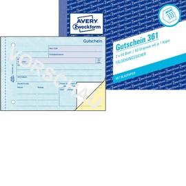 Gutscheinbuch A6 quer 2x50Blatt mit Blaupapier Zweckform 361 Produktbild