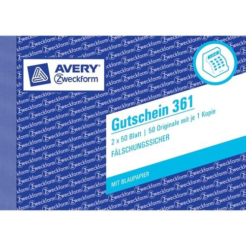 Gutscheinbuch A6 quer 2x50Blatt mit Blaupapier Zweckform 361 Produktbild Additional View 2 L