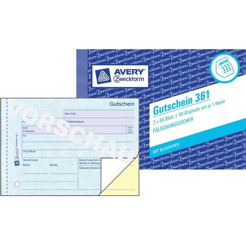 Gutscheinbuch A6 quer 2x50Blatt mit Blaupapier Zweckform 361 Produktbild Additional View 3 L