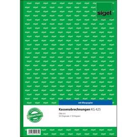Kassenabrechnung A4 2x50Blatt mit Blaupapier Sigel KG425 Produktbild