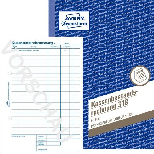 Kassenbestandsbuch A5 hoch 50Blatt Zweckform 318 Produktbild