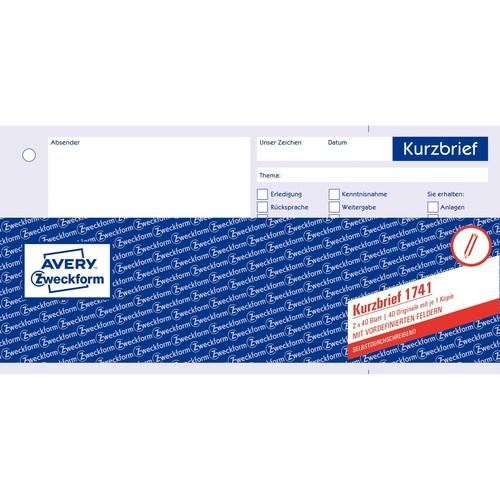 Kurzbrief 1/3 A4 2x40Blatt selbstdurchschreibend Zweckform 1741 Produktbild Additional View 1 L