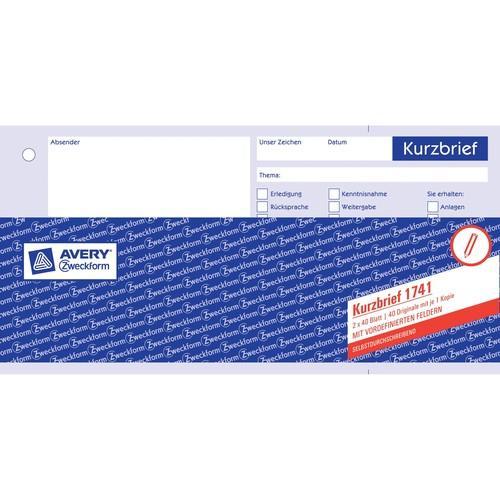 Kurzbrief 1/3 A4 2x40Blatt selbstdurchschreibend Zweckform 1741 Produktbild Additional View 2 L