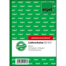 Lieferscheinbuch A6 hoch 2x40Blatt selbstdurchschreibend Sigel SD013 Produktbild