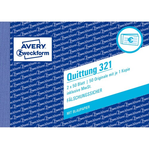 Quittungsblock A6 quer 2x50Blatt mit Blaupapier Zweckform 321 Produktbild Additional View 1 L