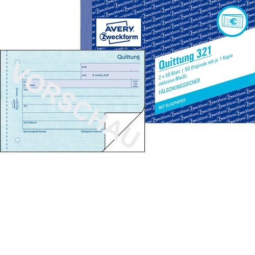 Quittungsblock A6 quer 2x50Blatt mit Blaupapier Zweckform 321 Produktbild
