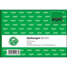 Quittungsblock A6 quer mit Sicherheitsdruck Sigel QU615 Produktbild