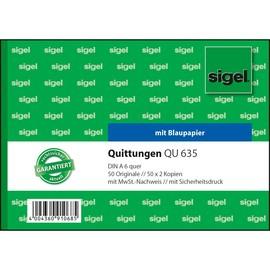 Quittungsblock A6 quer 3x50Blatt mit Blaupapier Sigel QU635 Produktbild