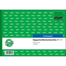 Rapport/ Wochenbericht A5 quer 100Blatt mit Blaupapier Sigel RP517 Produktbild