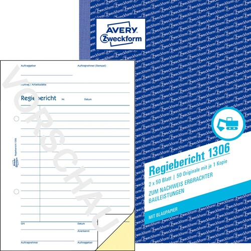 Regiebericht A5 hoch 2x50Blatt mit Blaupapier Zweckform 1306 Produktbild