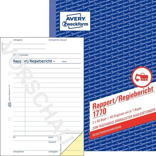 Rapport/ Regiebericht A5 hoch 2x40Blatt selbstdurchschreibend Zweckform 1770 Produktbild