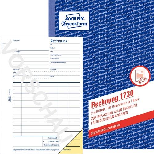 Avery Zweckform 1730D Rechnung DIN A5 2 x 50 Blatt wei/ß gelb selbstdurchschreibend