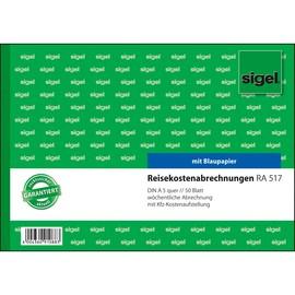 Reisekostenabrechnung wöchentlich A5 quer 50Blatt mit Blaupapier Sigel RA517 Produktbild