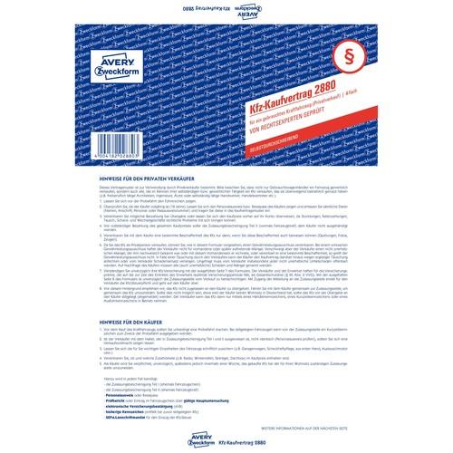 Kaufvertrag für gebrauchtes Kfz A4 4Blatt selbstdurchschreibend Zweckform 2880 Produktbild Additional View 1 L