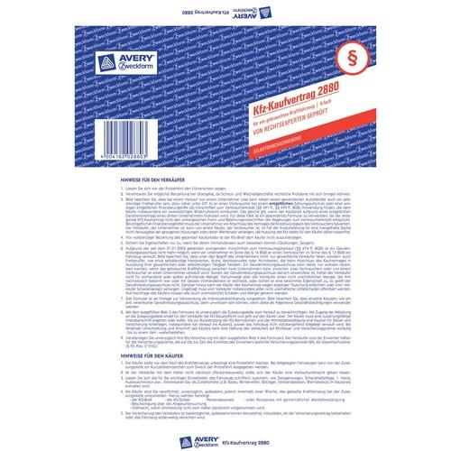 Kaufvertrag für gebrauchtes Kfz A4 4Blatt selbstdurchschreibend Zweckform 2880 Produktbild Additional View 3 L