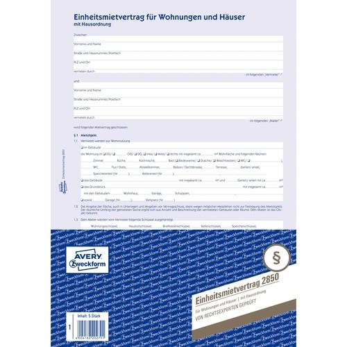 Einheitsmietvertrag A4 6-seitig Zweckform 2850 Produktbild Additional View 1 L