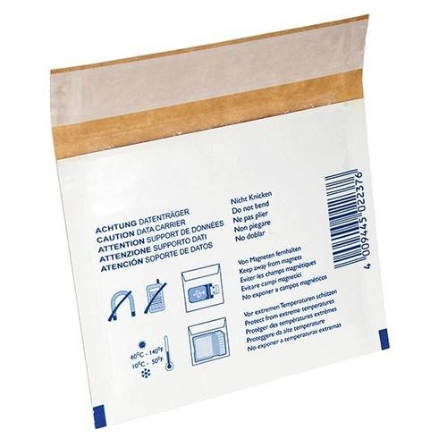 Versandtasche mit Warndruck weiß für 3,5 Zoll-Disketten / 130 x 105mm Produktbild Front View L