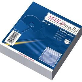 CD-Papierhülle mit Sichtfenster 124x124mm selbstklebend ohne Haftklebepunkt hinten 90g weiß (PACK=50 STÜCK) Produktbild