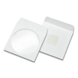 CD-Papierhülle mit Sichtfenster 124x124mm selbstklebend und Haftklebepunkt hinten 90g weiß (KTN=2500 STÜCK) Produktbild