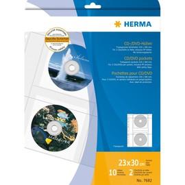 CD/DVD Hülle A4 für 2 CDs/DVDs transparent PP Herma 7682 (PACK=10 STÜCK) Produktbild