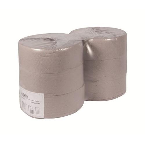 Toilettenpapier Jumbo Rollen 1-lagig / 9cm 525m / Ø25cm / Recycling / grau (PACK=6 ROLLEN) Produktbild Front View L