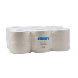 Toilettenpapier Jumbo Rollen 2-lagig / 9,5cm 160m / Ø18cm / Zellstoff / hochweiß (PACK=12 ROLLEN) Produktbild