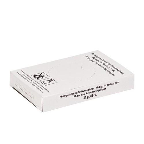 Hygienebeutel Kunststoff 80+70x250mm / weiß (KTN=750 STÜCK) Produktbild Front View L