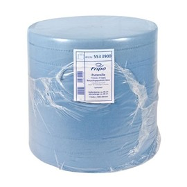 Putzrollen Tissue 3-lagig / blau / 36x38cm / 380m / Ø40cm / 1000 Abrisse Produktbild