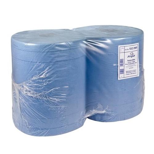 Putzrollen Recycling 3-lagig / blau / 37,5x34cm / 190m / Ø34cm / 500 Abrisse (PACK=2 ROLLEN) Produktbild Front View L