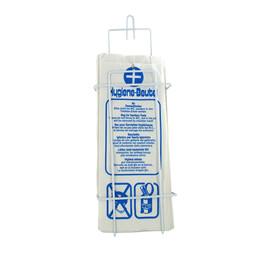 Hygienebeutelspender für Papierbeutel weiß/ Drahtgeflecht / 130x380x55mm Produktbild