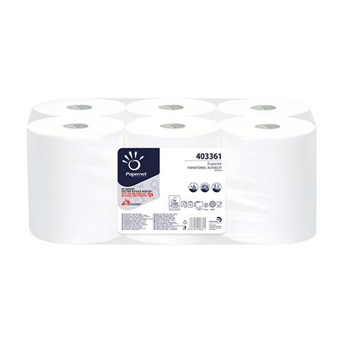 Handtuchrollen 2-lagig / weiß / 21cm /140m / Ø18,5cm / Zellstoff / Papernet (PACK=6 ROLLEN) Produktbild
