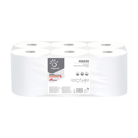 Handtuchrollen 1-lagig / weiß / 19,7cm / 292m / Ø19,8cm / Zellstoff / Innenabwicklung / Papernet (PACK=6 ROLLEN) Produktbild