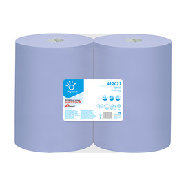 Putzrollen Special Recycling 2-lagig / blau / 37,3x36cm / 360m / Ø27,5cm / 1000 Abrisse / Papernet (PACK=2 ROLLEN) Produktbild