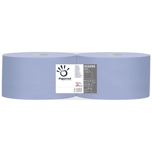 Putzrollen Standard Recycling 3-lagig / blau / 21,5x36cm / 360m / Ø 38cm / 1000 Abrisse  / Papernet (PACK=2 ROLLEN) Produktbild Front View L