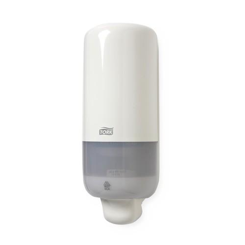 Schaumseifenspender S4 mit Druckknopf  1000ml / weiß / Kunststoff / 113x292x114mm / Tork 561500 Produktbild Additional View 1 L