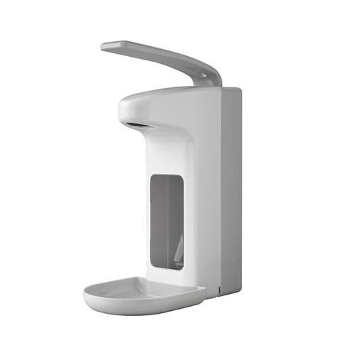 Desinfektionsmittel- & Seifenspender mit Armhebel und Auffangschale 500ml / weiß / Kunststoff / Temdex Produktbild Front View L