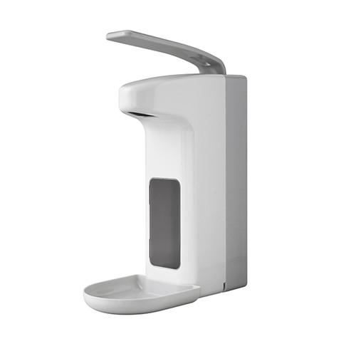 Desinfektionsmittel- & Seifenspender  mit Armhebel und Auffangschale  1000ml / weiß / Kunststoff / Temdex Produktbild Front View L